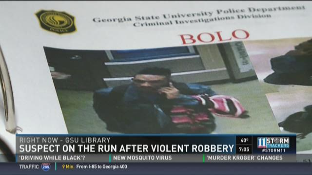 Suspect still on the run after violent GSU robbery