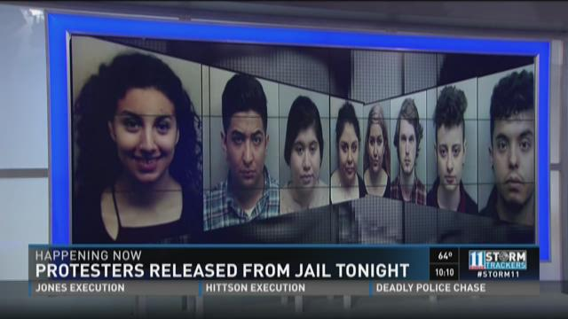 Protesters released from jail Tuesday night