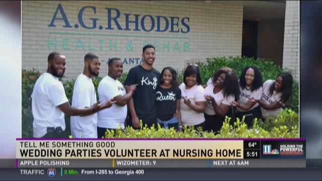 Wedding party volunteers at nursing home during bachelor weekend