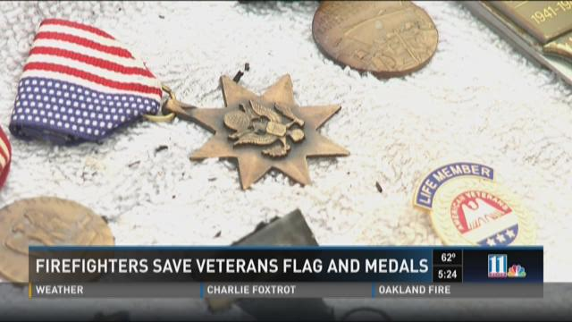 Firefighters save military medals, flag from house fire