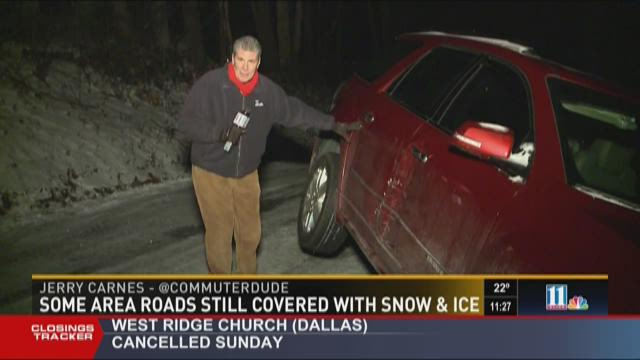 Some area roads still covered with snow and ice