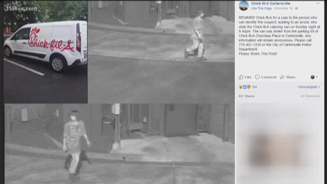 Suspect found in Chick-fil-A van theft Featured