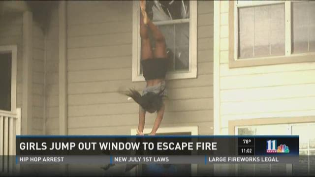 Girls jump out window to escape fire