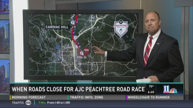 Road closures for AJC Peachtree Road Race