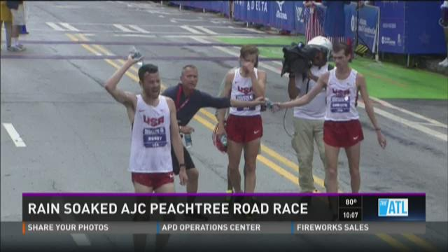 Rain soaked AJC Peachtree Road Race