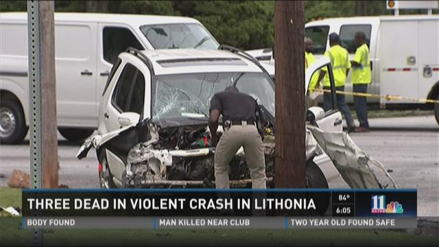 Three dead in violent crash in Lithonia