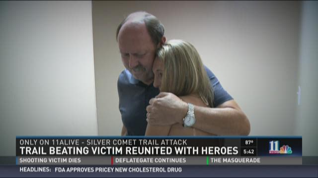 Trail beating victim reunited with heroes