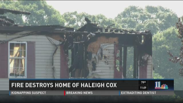 The Forsyth home of Haleigh Cox and her family was destroyed in a fire Tuesday.