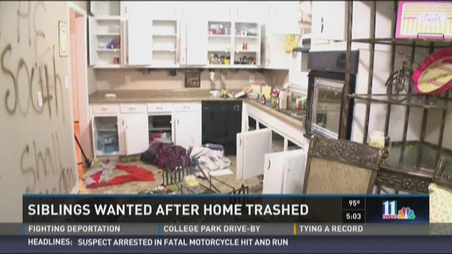 Siblings wanted after Ellenwood home trashed