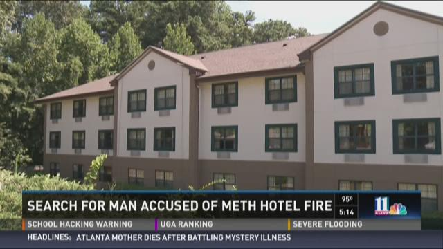 Search for man accused of causing fire while making meth in hotel room