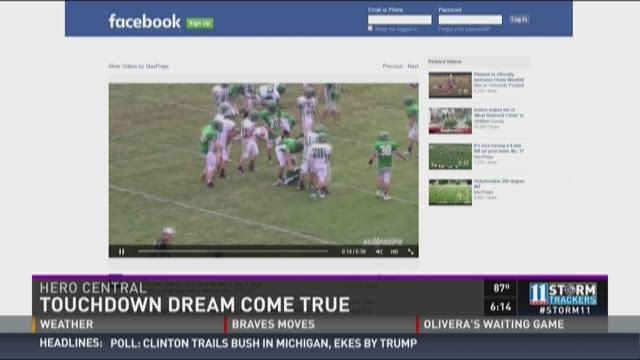 Boy's touchdown dream comes true