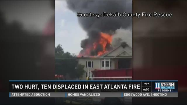 Two hurt, residents displaced in east Atlanta fire