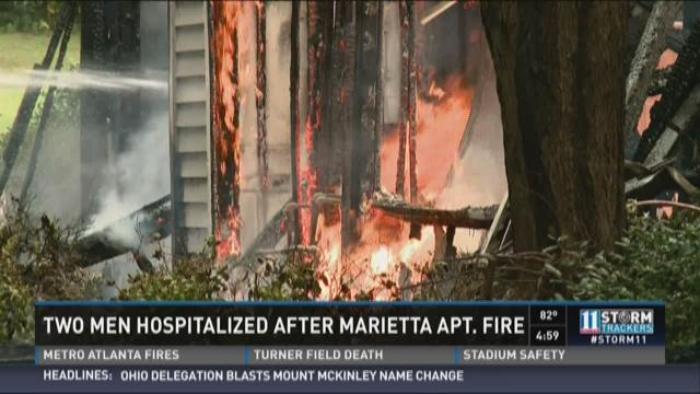 Two men hospitalized after Marietta apartment fire
