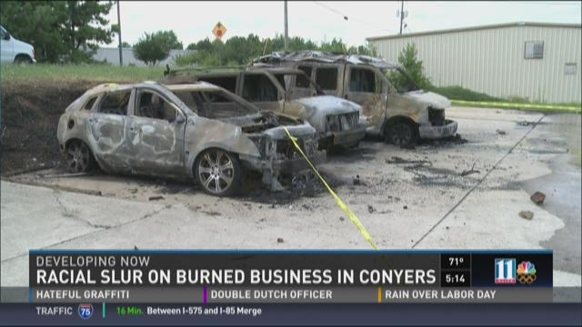Rockdale County business vandalized, torched