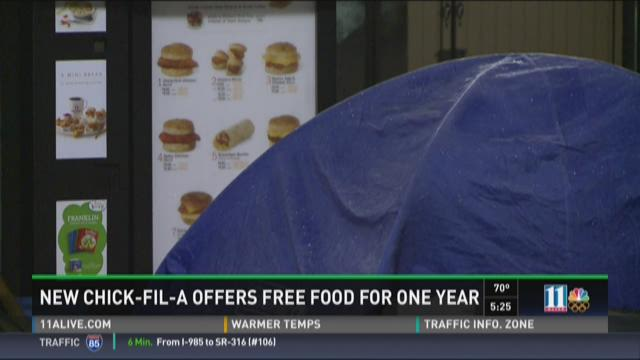 Chick-fil-A lovers camp out for free food