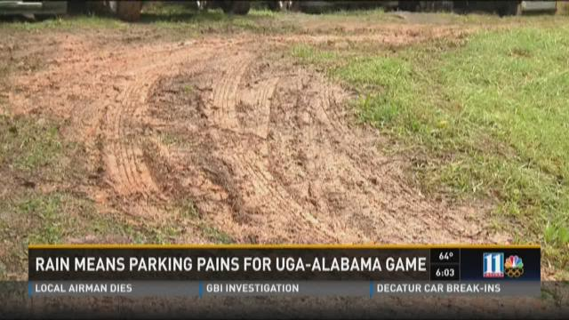Rain means parking pains for UGA-Alabama game