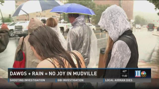Dawgs plus rain equals no joy in Mudville