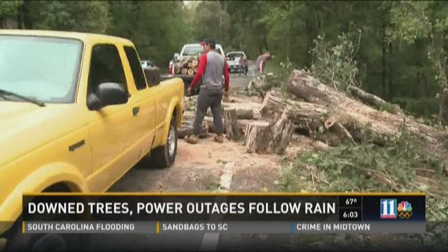 Downed trees, power outages follow rain