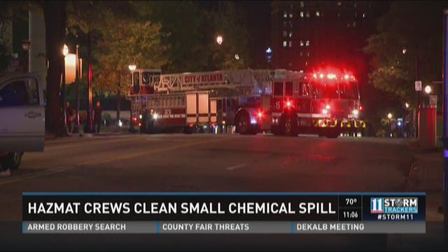 HAZMAT crews clean small chemical spill