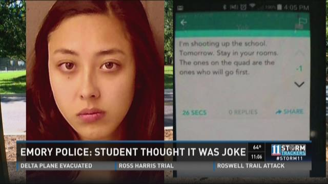 Emory Police: Student thought it was a joke