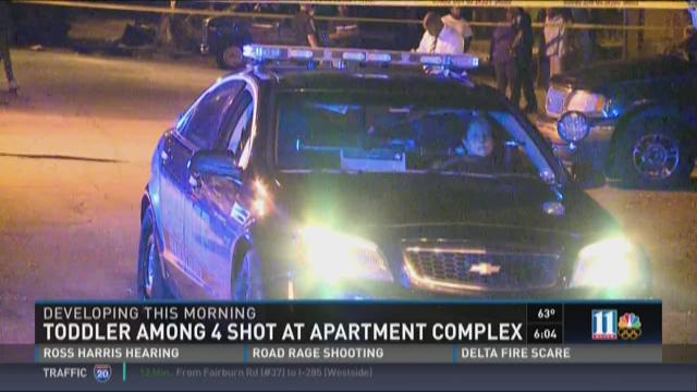 Toddler among 4 shot at apartment complex