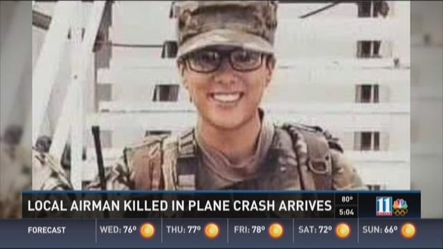 Local airman killed in plane crash arrives home