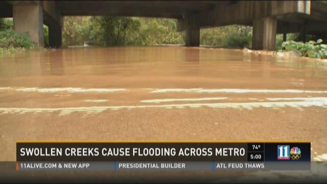 Swollen creeks cause flooding across metro Atlanta