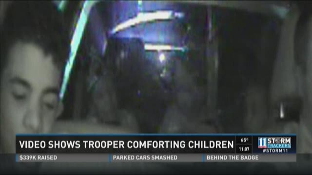 Video shows trooper comforting children
